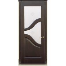 Межкомнатная дверь Мебель массив  Глория шпон темный дуб полотно со стеклом