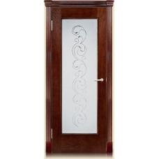 Межкомнатная дверь Мебель массив  Виченца шпон коньячный дуб полотно со стеклом