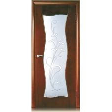 Межкомнатная дверь Мебель массив  Флорина шпон миланский орех файн-лайн полотно со стеклом