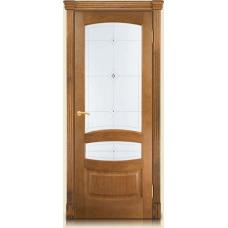 Межкомнатная дверь Мебель массив  Валенсия шпон светлый дуб файн-лайн полотно со стеклом