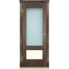 Межкомнатная дверь Мебель массив  Болония шпон коньячный дуб с эмалевой вставкой полотно со стеклом