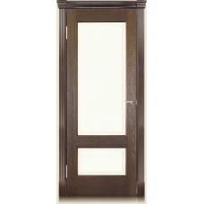 Межкомнатная дверь Мебель массив  Болония шпон коньячный дуб с эмалевой вставкой полотно глухое