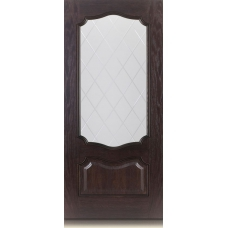 Межкомнатная дверь Мебель массив  Барселона шпон темный дуб матовый полотно со стеклом