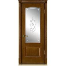 Межкомнатная дверь Мебель массив  Венеция шпон коньячный дуб полотно со стеклом