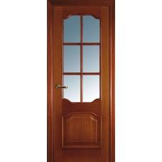 Межкомнатная дверь Волховец Classic 1092 шпон красное дерево полотно со стеклом